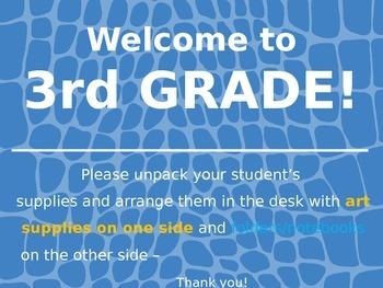 Meet the Teacher Powerpoint Slideshow Presentation - Blue Leather - Editable