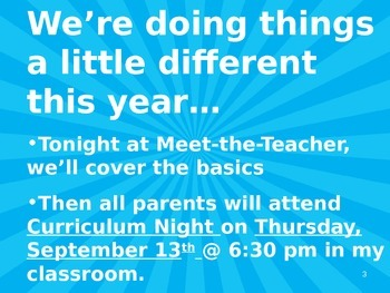 Meet the Teacher Powerpoint Slideshow Presentation - Bright Blue - Editable