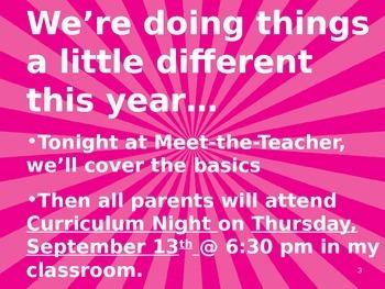 Meet the Teacher Powerpoint Slideshow Presentation - Bright Pink - Editable