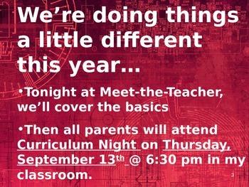 Meet the Teacher Powerpoint Slideshow Presentation - Burgundy - Editable
