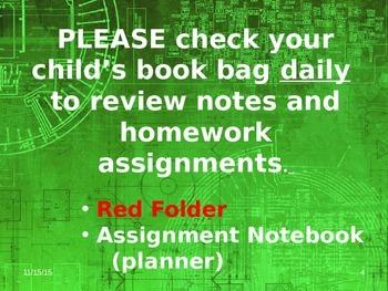Meet the Teacher Powerpoint Slideshow Presentation - Green Grunge - Editable
