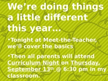 Meet the Teacher Powerpoint Slideshow Presentation - Green Scrolly - Editable