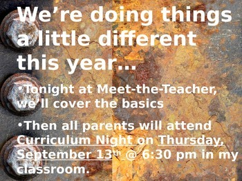 Meet the Teacher Powerpoint Slideshow Presentation - Grunge - Editable