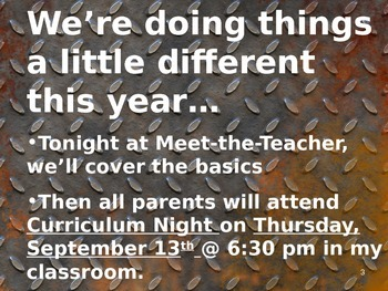 Meet the Teacher Powerpoint Slideshow Presentation - In the Garage - Editable