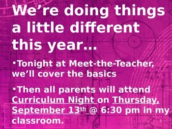 Meet the Teacher Powerpoint Slideshow Presentation - Pink Grunge - Editable