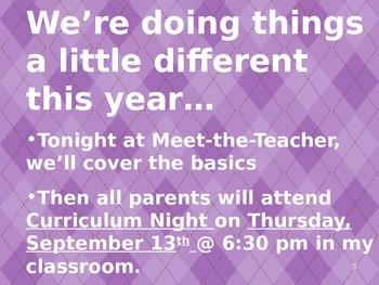 Meet the Teacher Powerpoint Slideshow Presentation - Purples - Editable