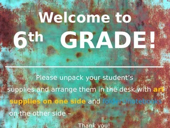 Meet the Teacher Powerpoint Slideshow Presentation - Rusted Metal - Editable