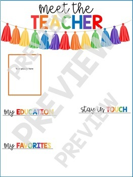 Meet the Teacher - Primary Tassel - EDITABLE