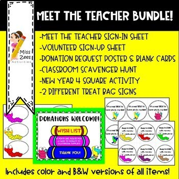 Meet the Teacher Printable Bundle - Bookworm theme