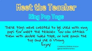 Meet the Teacher Ring Pop Tags