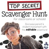 Meet the Teacher Scavenger Hunt EDITABLE (for Open House, classroom, or school)
