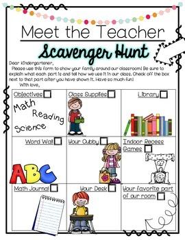 Meet the Teacher Scavenger Hunts