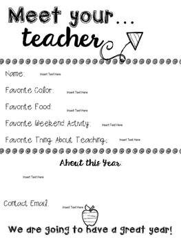 Meet the Teacher Sheet {{editable}}