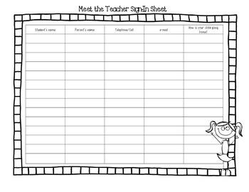 Meet the Teacher Sign Up Sheet (English/Spanish)