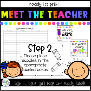 Meet the Teacher Signs, Sign-ins and Gift Tags