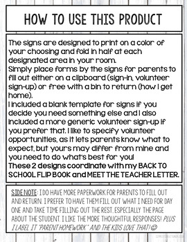 Meet the Teacher Signs and Forms
