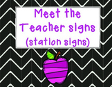 Meet the Teacher Signs (station signs)- Open House- Back to School