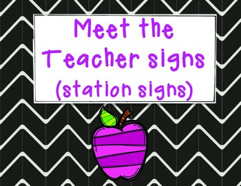 Meet the Teacher Signs (station signs)- Open House- Back t