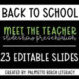 Meet the Teacher Slideshow Presentation - 23 Editable Slides