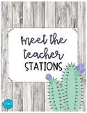 Editable Meet the Teacher Station Signs- Cactus Theme