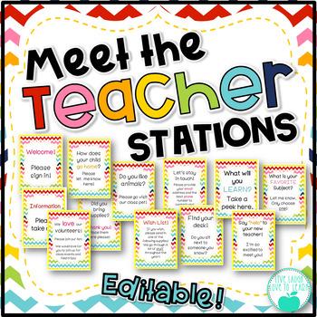 Meet the Teacher Stations - Rainbow Chevron