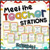 Meet the Teacher Stations - Editable Rainbow Chevron