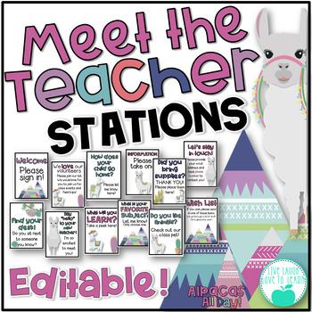 Meet the Teacher Stations - Alpacas All Day! Editable