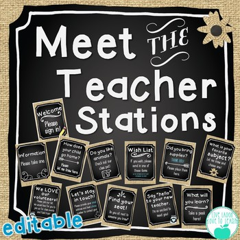 Meet the Teacher Stations - Chalk & Burlap - Chalk, Burlap, Mason Jars ~Editable
