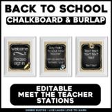 Meet the Teacher Stations - EDITABLE Chalk & Burlap