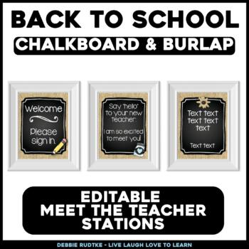 Meet the Teacher Stations - Chalk & Burlap - Chalk, Burlap