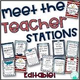 Meet the Teacher Stations - EDITABLE Nautical Theme