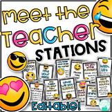 Meet the Teacher Stations - Editable Emoji Theme