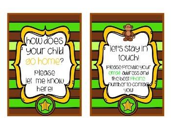 Meet the Teacher Stations - Monkey/Jungle Theme