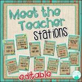 Meet the Teacher Stations -Rustic Wood - EDITABLE