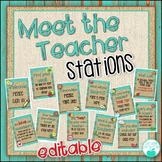 Meet the Teacher Stations -Rustic Wood - EDITABLE