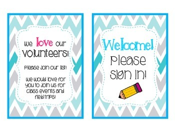 Meet the Teacher Stations - Teal and Gray Chevron