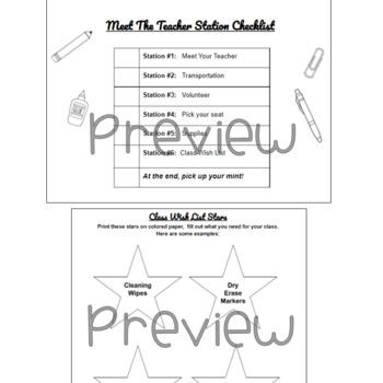 Meet the Teacher Stations- editable