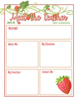Meet the Teacher Strawberry Themed Newsletter Template EDITABLE .doc