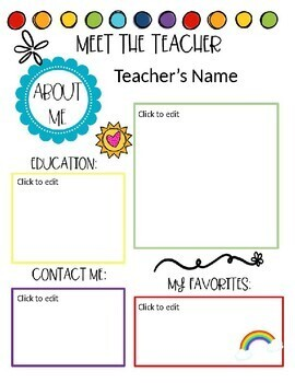 Meet the Teacher & Student- All About Me