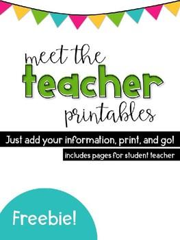 Meet the Teacher / Student Teacher Handout FREEBIE