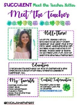 Meet the Teacher Succulent Theme