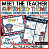 Meet the Teacher Open House EDITABLE Templates Super Hero Theme | Back to School