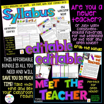 EDITABLE Meet the Teacher + Syllabus + Welcome Note BUNDLE *OPEN HOUSE