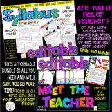 Meet the Teacher + Syllabus + Welcome Note (EDITABLE) BUND
