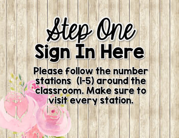 Shabby Chic Meet the Teacher Table Signs and Wish List