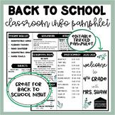 Back to School Brochure | Meet the Teacher | Teacher Infor