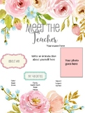 Meet the Teacher Template Floral