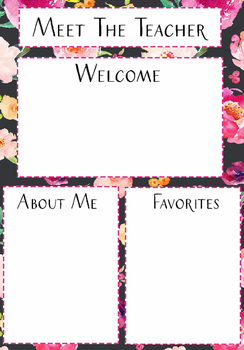 Meet the Teacher Template Black Floral