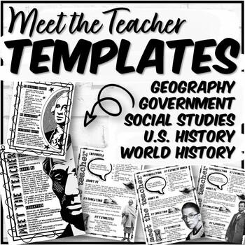 Meet the Teacher Template Bundle for Social Studies