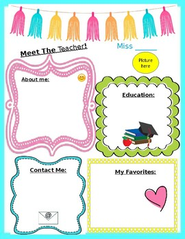 meet the teacher template editable by noel krug tpt